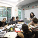 foreign students learing Chinese in a small group class in China
