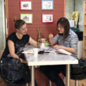 a foreign student taking a one-one-one Chinese tutoring with her private tutor in China